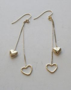 14K Yellow Gold Dangle Earrings by onetime on Etsy, $25.00