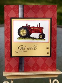 LovinTX  I sponged the edges of the tractor image slightly with ruby red and then covered the entire piece with clear embossing powder.