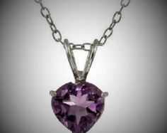 """Sterling Silver 1.1ct. Amethyst 7mm Heart Solitaire Pendant w/18"""" chain by bluecollarmarket. Explore more products on http://bluecollarmarket.etsy.com"""