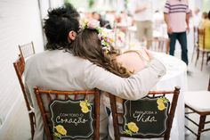 Different bride and groom's seat signs: With all my heart - For all my life
