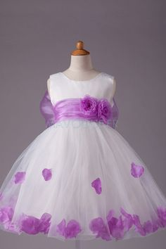 Ball Gown Jewel Knee-length Satin Tulle Sleeveless Flower Girl Dress (More Colors) Pretty Flower Girl Dresses, Little Girl Dresses, Flower Girls, Girls Dresses Online, Purple Themes, Satin Tulle, Organza Flowers, Bow, Little Girl Fashion