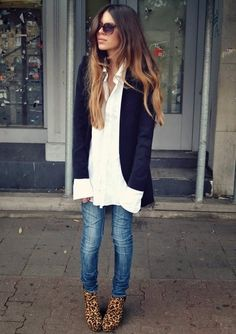 All Of This              Leopard Boots Skinny Jeans White Shirt Blazer