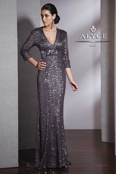 long sleeve evening gowns | Fully Sequined Long Sleeve Evening Gown 5523 | SIMPLE ELEGANCE