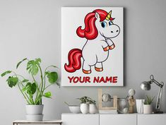 Red hair unicorn Personalized unicorn canvas wall decor for kids personalised unicorn canvas ready to hang on the wall unicorn picture by funkytshirtsfactory on Etsy Unicorn Pictures, Unicorn Wall, Canvas Wall Decor, Red Hair, Cool Stuff, Canvases, Kids, Handmade, Etsy