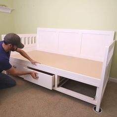 Make a DIY Daybed your child will love and get tons of storage with it! You can learn how to make a daybed and build your own woodworking project. Get the full video with available plans! projects furniture DIY Daybed with Storage