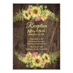 #Sunflower on Rustic Wood Country Wedding Reception Card - #rustic #wedding #marriage #bridal #weddingideas