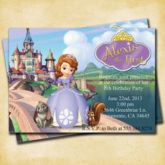 Sofia the First Birthday Party - Printable Customized Invitation by KatiePaigeDesign. So cute when you need a more formal invite!