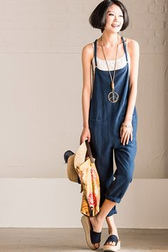 Summer Dark Blue Causel Cotton Linen Overalls Trousers Women Clothes K1335A