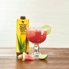 Looking for a refreshing drink to help you cool off this summer? Look no further thanks this Watermelon Aloe Margarita! Ingredients: 8 cups cubed watermelon 1/2 cup Forever Bee Honey® 1/4 cup lime juice 1/4 cup Forever Aloe Vera Gel® Sea salt (for rim of glass) Directions: Put all the ingredients except salt into a blender and blend for 30 seconds or until the mixture is smooth and frothy on top. Pour over ice into a salt-rimmed glass. Garnish with a wedge of lime. This will make six servings. Refreshing Drinks, Yummy Drinks, Margarita Recipes, Margarita Ingredients, Forever Business, Forever Aloe, Nutrition Drinks, Forever Living Products, Natural Energy