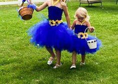 Blue Country Weddings, Blue Yellow Weddings, Country Style Wedding, Rustic Wedding, Yellow Flower Girl Dresses, Pink Wedding Dresses, Royal Blue Dresses, Flower Girls, Bridesmaid Gowns