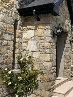 Check out this gorgeous hand-picked (random rubble) stone porch, made with Donegal Sandstone from our Mountcharles Quarry. Teamed with stunning white roses. Great idea for renovations, or for adding a natural element to your self-build project. Stone Porches, Thin Stone Veneer, Donegal, Stone Houses, White Roses, Natural Stones, Random, Building, Check