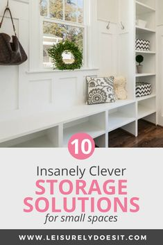 When you live in a tiny house, you may feel like there's never enough storage space and clutter can build up easily. Here are ten insanely clever storage solutions for small spaces that will organize Bedroom Storage For Small Rooms, Small Space Storage, Storage Spaces, Small Shelves, Small Bedrooms, Kitchen Storage, Bathroom Storage, Small Apartment Living, Storage Solutions
