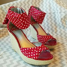Fergalicious polka dot espadrilles How adorable are these red and white polka dot espadrilles?! These are your new favorite summer shoes - perfect for a company picnic, day at the beach, or just looking fabulous at work. These have only been worn twice and are in stellar condition.  I have a bad habit of buying shoes that my weak ankles can't actually handle. There is one imperfection shown in the last picture. The toe of the left shoe has a small rip in the foot bed lining. Otherwise, these…