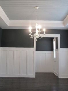 Simple and Stylish Tips: Wainscoting Basement Foyers wainscoting office man cave.Wainscoting Exterior Beach Homes wainscoting stairs home.Types Of Wainscoting Subway Tiles. Wainscoting Styles, Wainscoting Panels, Dining Room Wainscoting, Dining Room Paneling, Basement Wainscoting, Craftsman Dining Room, Bathroom Wainscotting, Beadboard Wainscoting, Wainscoting Nursery