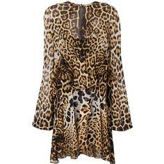 Saint Laurent Leopard Print Shift Dress (€1.860) ❤ liked on Polyvore featuring dresses, clothing /, kirna zabete, brown skater skirt, long-sleeve shift dresses, silk dress, skater skirt and long sleeve crew neck dress