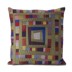 """""""Lipari Cushion"""" by Janice Gunner as featured on page 17 of her """"Liberating Log Cabin"""" booklet. A 'must have' for all those interested in contemporary textile techniques. See www.janicegunner.co.uk Pattern available shortly"""