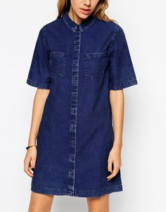 Image 3 of ASOS Denim Shirt Dress with Patch Pocket