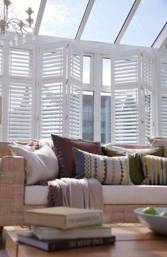 30+ Good Small Conservatory Interior Design Ideas #interior #interiordesign #interiordesignideas Conservatory Interiors, Small Conservatory, Conservatory Design, Conservatory Ideas Interior Decor, Interior Shutters, White Shutters, Blinds For Windows, Window Blinds, Home Furnishings