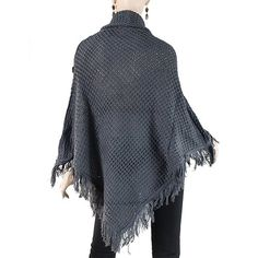 G2 Fashion Square Fringe Poncho Frill Button Sweater(TOP-SWT,GRY-S)