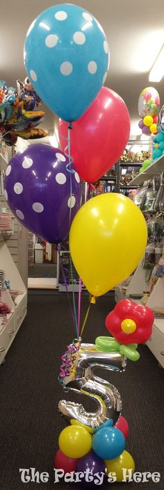 Number Bouquet with twisted flower add on. Numbers available in gold and silver, all other balloons available in a huge range of colours.   www.thepartyshere.com.au   #balloons #birthday #flower #polkadot #colours #party #qualatex