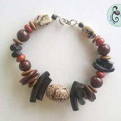 Bracelet en pâte fimo ethnique marron