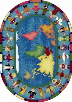 Joy Carpets Hands Around the World Kids Area Rug Size - 5...