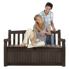 Keter 213126 Eden Bench Box - Outdoor Benches at Hayneedle