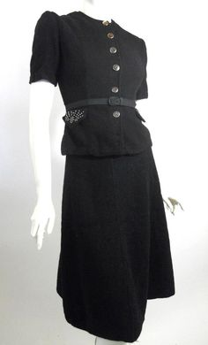 Early 1940s black wool 2 piece dress with belt, studded pockets (DCV)