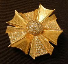 Gold Pin Brooch Rhinestone Flower Brushed Gold Designer Runway Estate Costume Vintage Costume Jewelry  Couture Vintage