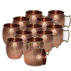 Visvabhavanah Pure Copper Hammered Moscow Mule Vodka Mug , Set of 12, 16 oz. #VisvabhavanahMart