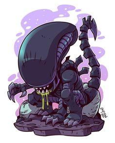 Idk what you say! It's chibi so it's cute! Cartoon Kunst, Comic Kunst, Cartoon Art, Xenomorph, Comic Art, Chibi Marvel, Predator Alien, Alien Alien, Fan Art