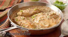 Hozzávalók:  1 csirkemell 1 póré, vagy újhagyma 0,5 dlMeggle Mesterkrém (főzőtejszín) 1 evőkanál mustár 1 teáskanálnyi curry só, bors,olaj