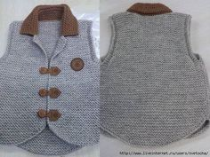 images attach d 1 133 785 Baby Knitting Patterns, Baby Boy Knitting, Knitting For Kids, Easy Knitting, Baby Boy Dress, Baby Vest, Pullover Design, Sweater Design, Diy Crafts Knitting