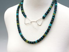 by Linda Magi - Three Links Necklace, forged argentium silver with cord french knit of cotton/viscose yarn
