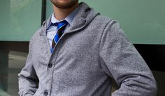 The Mens Gray Hooded Cardigan Sweater looks good over a shirt and tie