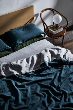 Unique Bedroom Decor Ideas Like pared back, minimal bedroom styling? Layer linen sheets in cool tones such as our Petrol, Fog and Olive.