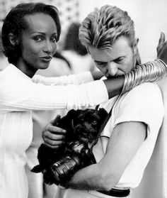 David Bowie with wife Iman and dog.