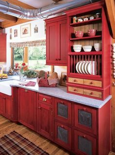 "I just found my ""Perfect Red Country Kitchen Cabinet Design"" by Best Country Kitchen Cabinets Design ***Even if the red cabinets aren't right, I like that some drawers are tin and little nook-type drawers Country Kitchen Cabinets, Kitchen Cabinet Design, Kitchen Redo, New Kitchen, Kitchen Country, Kitchen Cabinetry, Floors Kitchen, Kitchen Interior, Vintage Kitchen"