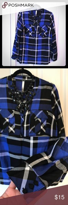 Vibrant Blue Button Down Shirt Great condition. Worn once. Kensie Tops Button Down Shirts