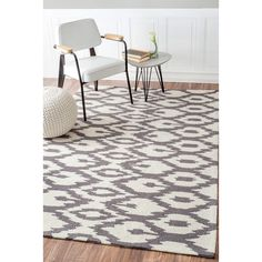 nuLOOM Handmade Modern Ikat Trellis Grey Rug (6' x 9') - Overstock Shopping - Great Deals on Nuloom 5x8 - 6x9 Rugs