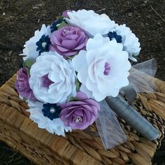 Paper Bouquet - Paper Flower Bouquet - Wedding Bouquet - White with shades of Ivory and Navy - Custom Made - Any Color Rolled Paper Flowers, Paper Flowers Diy, Fake Flowers, Handmade Flowers, Pretty Flowers, Diy Paper, Paper Bouquet, Hand Bouquet, Paper Flower Arrangements