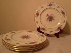 """Lenox """"Lenox Rose"""" Gold j300 mark. Set of 5 salad plates. Gold trimmed Lenox"""