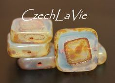 NEW Beveledcut Square Bead Opal Beige and Brown by CzechLaVie, $2.95
