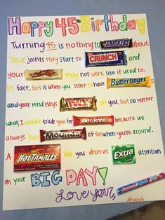 42 Ideas birthday gifts funny diy candy bars for 2019 - DIY Gifts Wedding Ideen Birthday Candy Posters, Candy Birthday Cards, Funny Mom Birthday Cards, Candy Bar Posters, Birthday Cards For Friends, Birthday Gifts For Best Friend, Mom Birthday Gift, 50th Birthday, Birthday Ideas