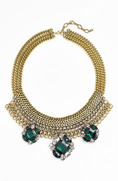Pop on a LBD and this emerald crystal cluster statement necklace and you're ready for a night out!