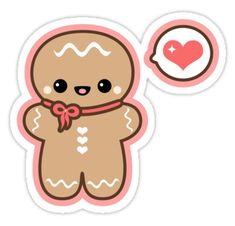 Super cute gingerbread man vinyl die cut stickers.