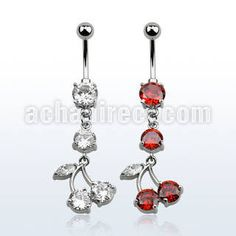 Surgical steel belly banana for #navelPiercing, 14 g (1.6 mm) with an 8 mm round prong set CZ stone and a dangling cherry with prong set CZ stones. #Wholesale price: $3.31 US