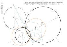 Circunferencia tangentes a circunferencia y recta por puntos. Problema de Apolonio · Dibujo Técnico Dado, Round Glass, Plane Geometry, Drawing Techniques, Dots