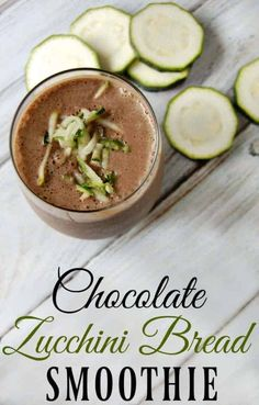 Want more ways to use zucchini? How about this chocolate zucchini bread smoothie? Packed with zucchini and totally delicious! Zucchini Smoothie, Veggie Smoothies, Smoothie Recipes, Drink Recipes, Simple Smoothies, Vitamix Recipes, Blender Recipes, Smoothie Drinks, Dessert Recipes