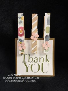 Another Thank You Magnetic Clothes pins using the English Garden Designer Series  Paper